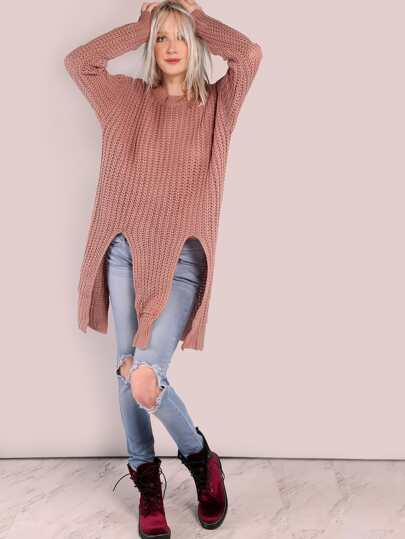 Oversized Double Slit Knit Sweater MAUVE