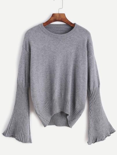 Pullover Drop Schulter Bellärmel abfallendem Saum-grau