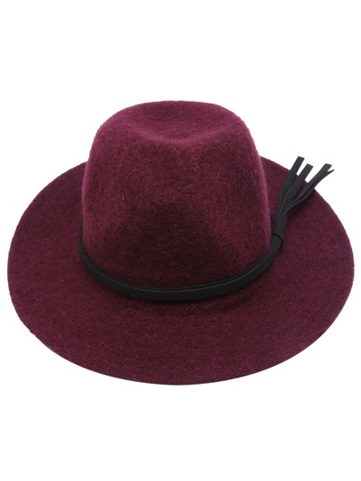 Burgundy Faux Leather Band Knit Fedora Hat