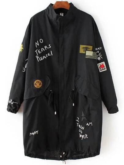 Black Embroidery Drawstring Waist Long Coat