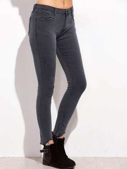Dark Grey Raw Hem Skinny Jeans