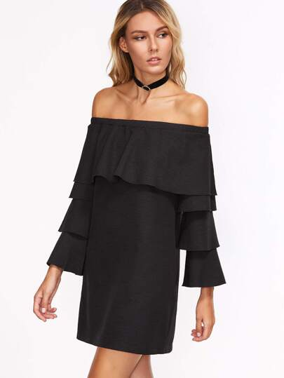 Black Ruffle Off The Shoulder Layered Sleeve Dress