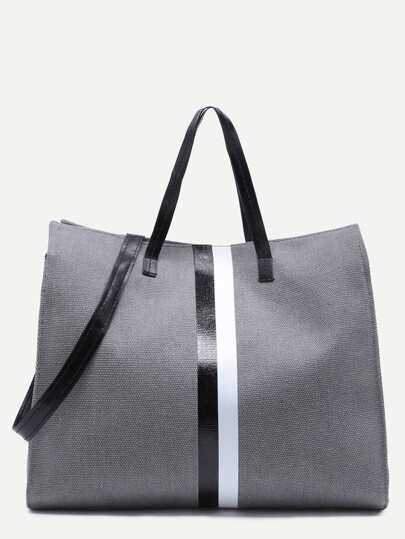 Dark Grey Canvas Tote Bag With Strap