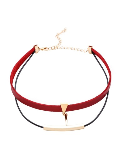 Red Double Layer Metal Trim Choker Necklace