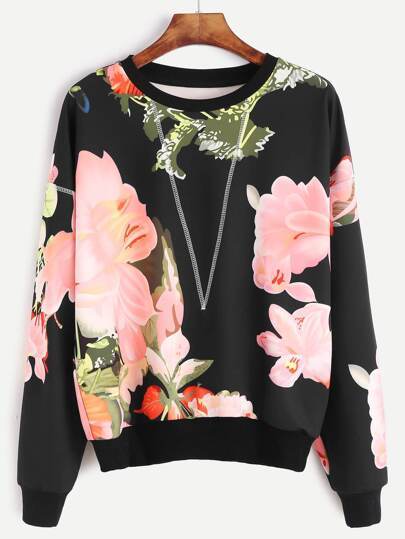 Black Flower Print Topstitch Sweatshirt