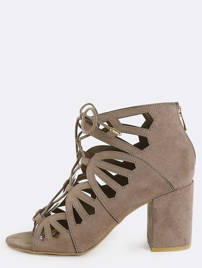 Suede Cut Out Chunky Heels TAUPE