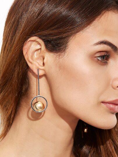 Silver Tone Geometric Pendant Asymmetrical Earrings