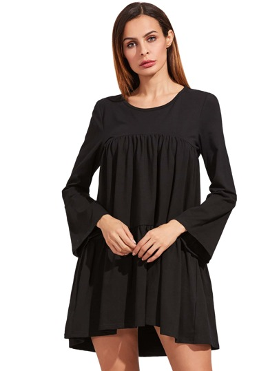 Black Long Sleeve Ruffle Dress