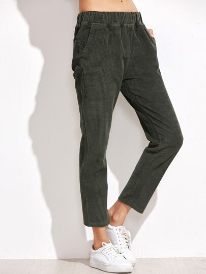 Army Green Corduroy Ankle Pants