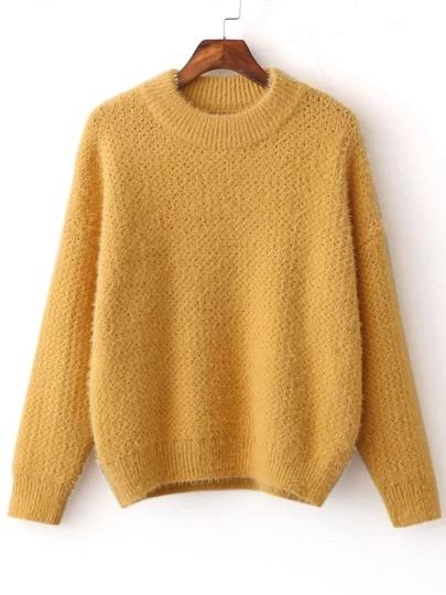 Yellow Ribbed Trim Crew Neck Sweater