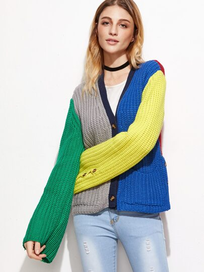 Color Block Chunky Knit Sweater Coat