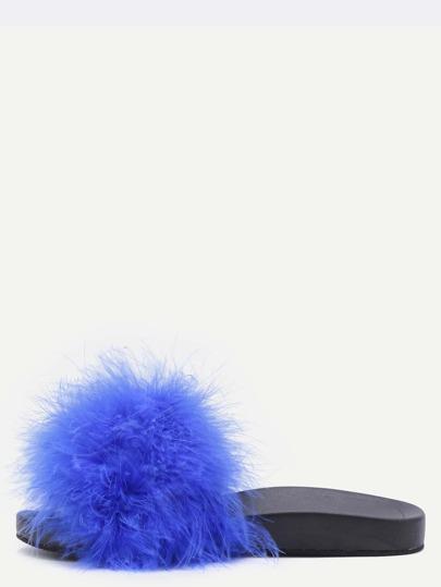 Chaussons en fausse fourrure bout ouvert - bleu
