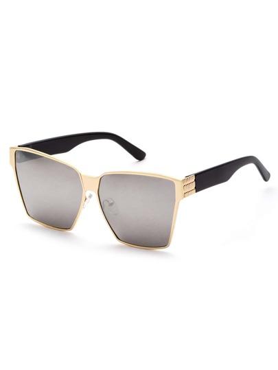 Metal Geometric Frame Grey Lens Sunglasses