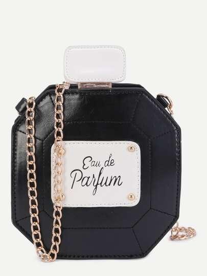 Black Perfume Bottle Design PU Crossbody Chain Bag