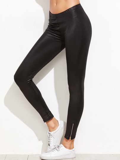 Black Faux Leather Zip Hem Leggings