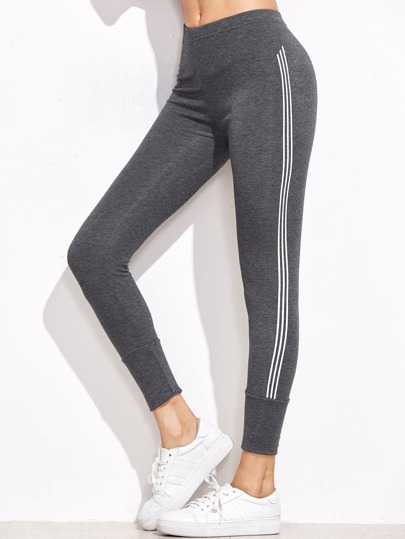 Leggings de rayas laterales cintura alta - gris