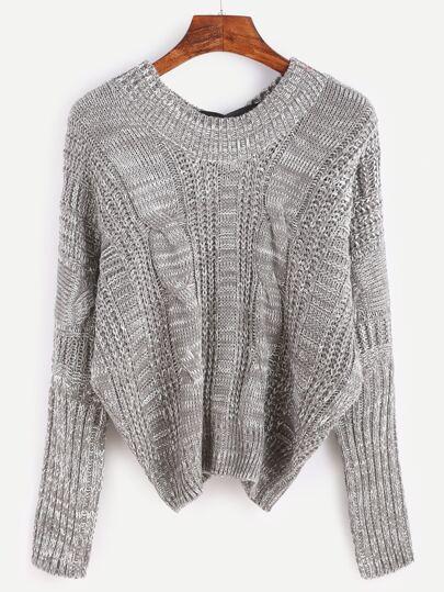 Pull tricoté en câble col V manche chauve-souris avec nœud papillon