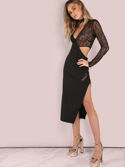 Plunging V Choker Neck Lace Contrast Midi Dress BLACK
