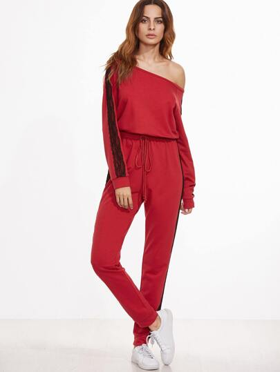 Red Contrast Lace Sideseam Asymmetric Shoulder Sweat Jumpsuit