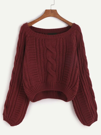 Burgundy Raglan Sleeve Cable Knit Sweater
