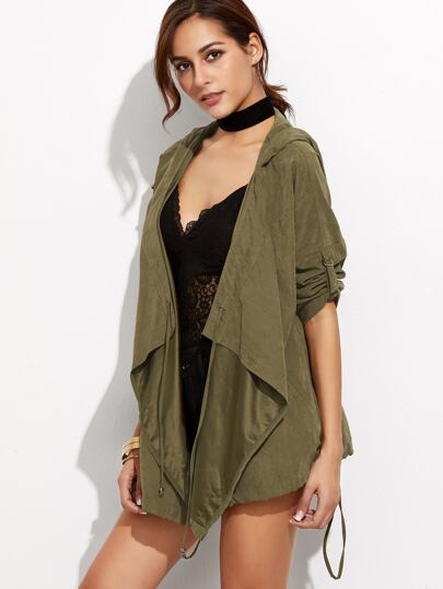 Olive Green Roll Sleeve Waterfall Hooded Jacket
