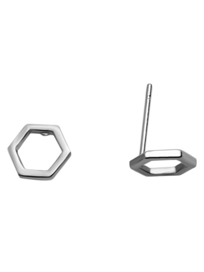 Silver Hexagon Hollow Out Stud Earrings