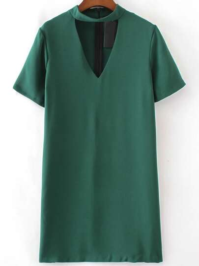 Green Choker V Neck Short Sleeve Dress