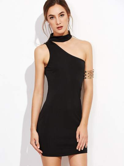 One Shoulder Choker Bodycon Dress