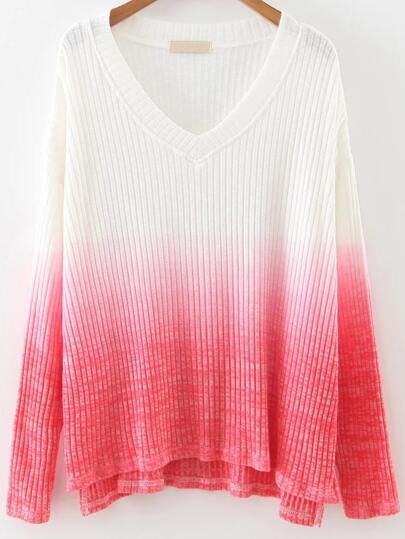 V Neck High Low Gradient Knitwear