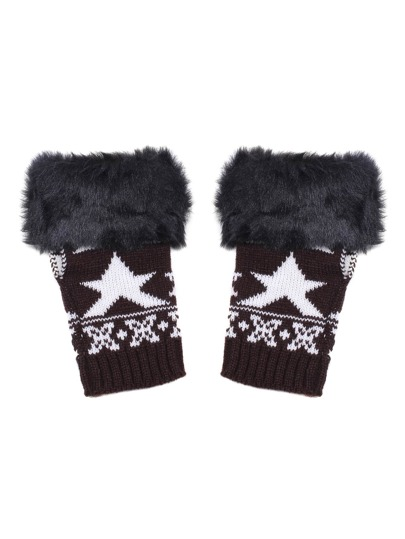 Black Faux Fur Trim Knit Fingerless Gloves