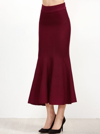 Burgundy Knit Fishtail Skirt