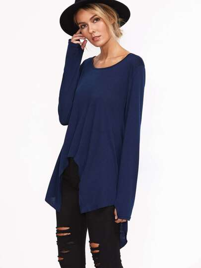 Navy Asymmetric Hem T-shirt