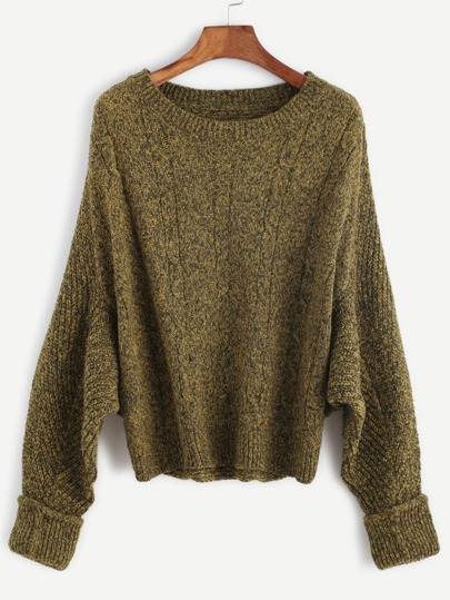 Olive Green Batwing Sleeve Cuffed Cable Knit Sweater