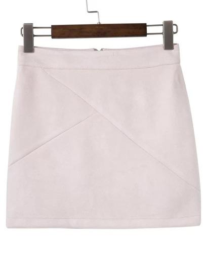 Beige Zipper Back Mini Skirt