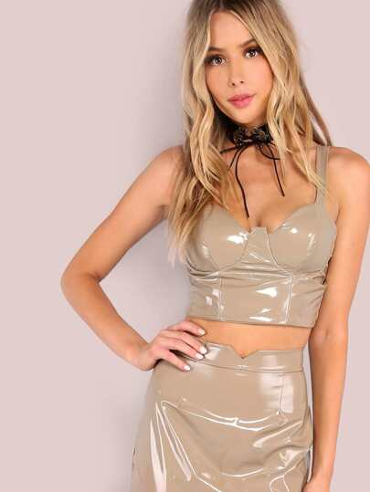 Patent Bustier Crop Top TAUPE