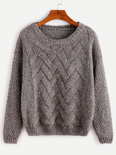 Dark Grey Drop Shoulder Sweater