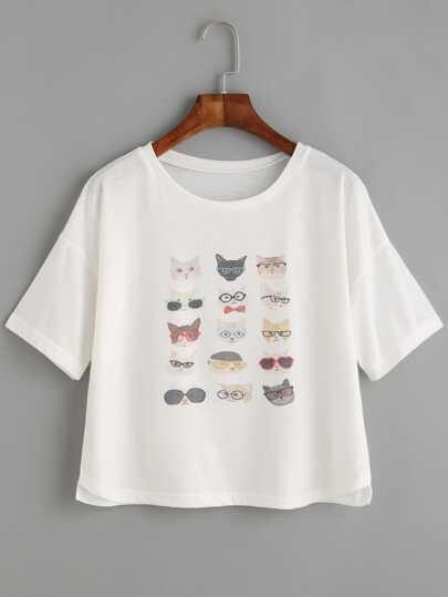 White Cat Print Drop Shoulder T-shirt