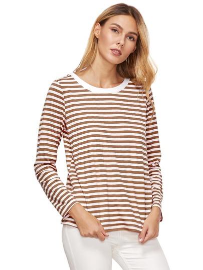 Brown a righe a maniche lunghe T-shirt