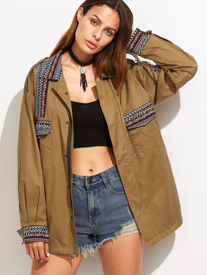 Khaki Embroidered Tape Detail Pocket Jacket