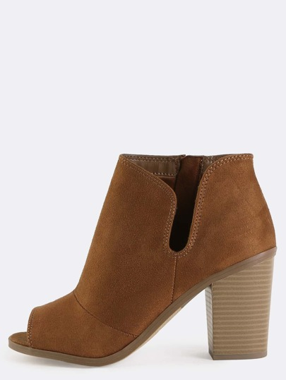 Side Slit Ankle Booties COGNAC