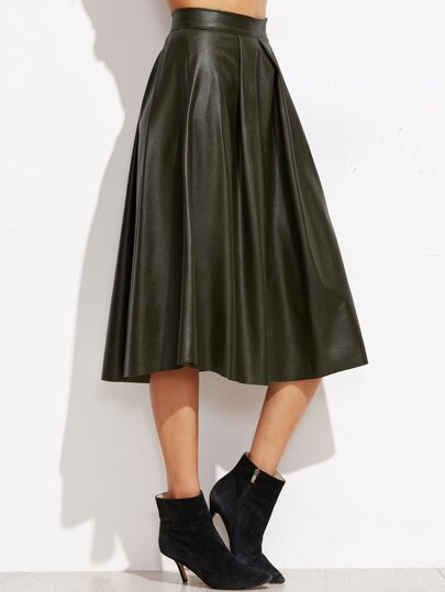 Army Green Pleated Zipper Back PU Skirt