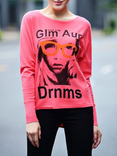 Hot Pink Character Letters Print Sweaters