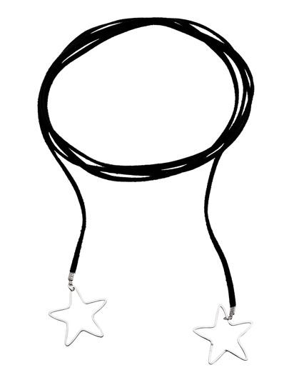 Collier ras-de-cou avec pendentif forme en étoile argenté - noir