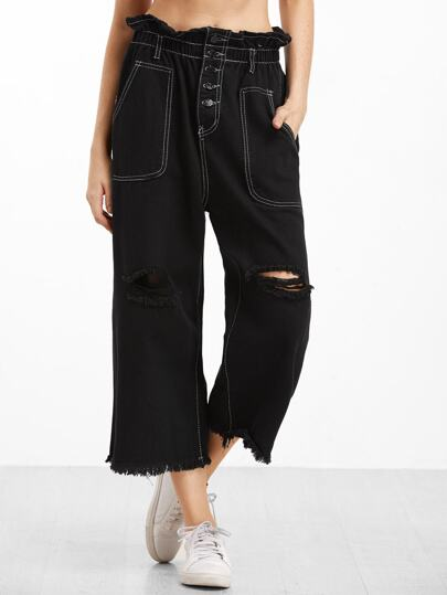 Black Distressed Raw Hem Straight Leg Jeans