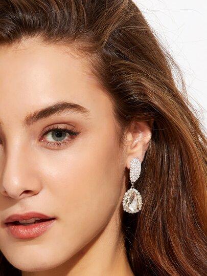Rhinestone Encrusted Elegant Drop Earrings