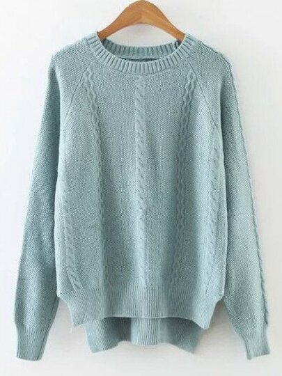 Blue Cable Pattern Slit Side High Low Sweater