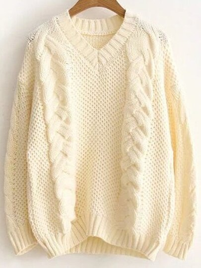 Beige Cable Knit V Neck Sweater
