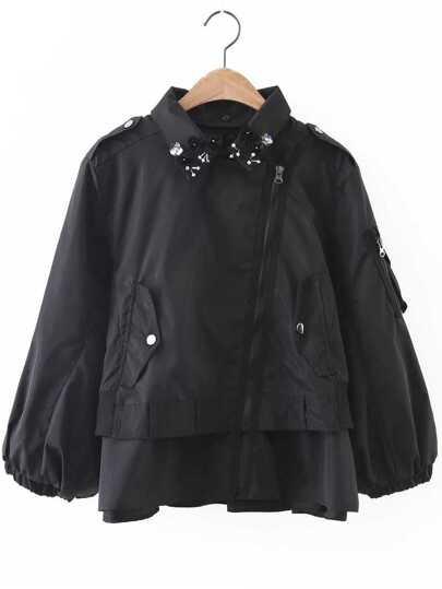 Black Flower Detail Oblique Zipper Coat
