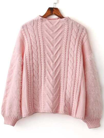 Pink Cable Knit Crew Neck Lantern Sleeve Sweater
