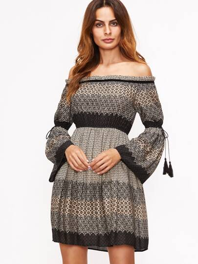Black Printed Off The Shoulder Fringe Detail Dress